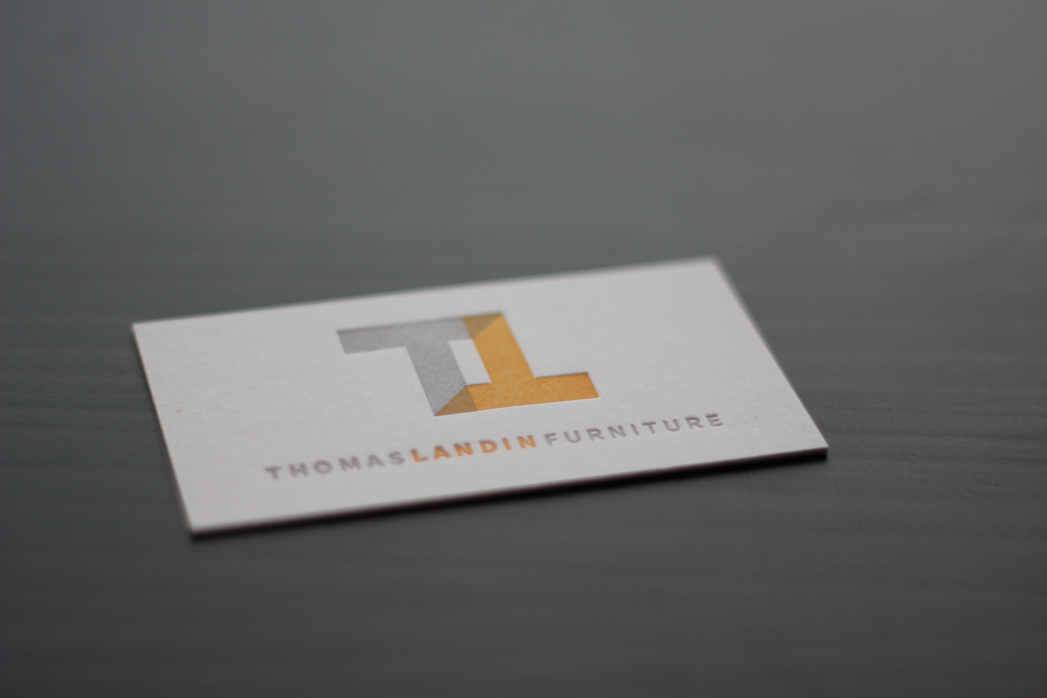Business cards thomas landin furniture excuse the mess thom already had a logo for his business so rachel simply had to layout the business cards to thoms liking colourmoves